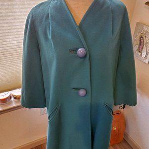 Vintage wool, turquoise coat